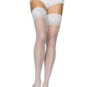 Sheer White Lycra Stay-Up Thigh-High Stockings, Le